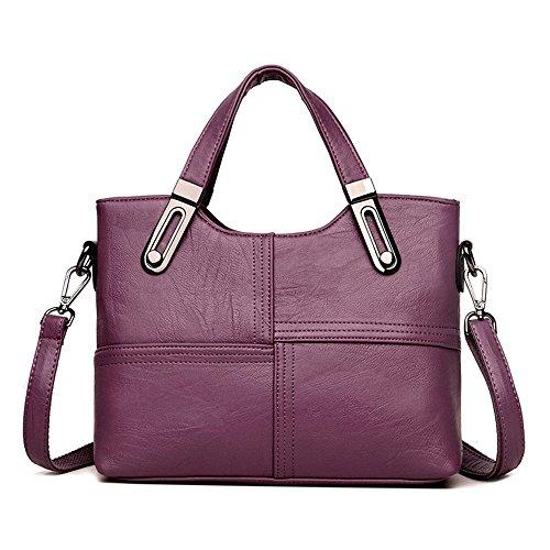 Lady'S Nuevo Bolso De Cuero Suave, Sesgó Handbag,Violeta,28X23X11.5Cm. Violeta