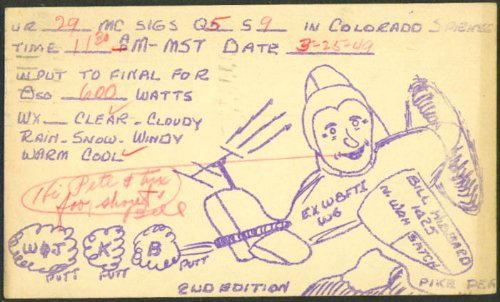 Bill Hibbard Colorado Springs Ham Radio QSL card 1949