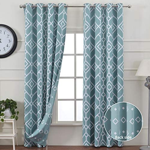 JC JACK CATHERINE Reversible Geometric Printed Blackout Curtains Thermal Insulated Curtain