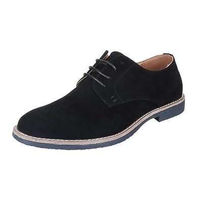 Schnürschuhe Herren Schuhe Oxford Blockabsatz Moderne Schnürsenkel Ital-Design Halbschuhe Camel, Gr 43, 62008-