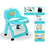 GLJ Wheeled Removable Baby Dining Chair Portable Children's Table And Chair Foldable Liftable Baby Table Folding chair (Color : Blue)