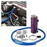 Universal Aluminum Racing Engine Oil Catch Tank CAN Kit Turbo Reservoir Billet Round 350ML Purple