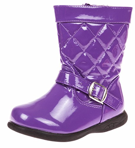 VeeVee Toddler Girls Quilted Fashion Boot with Lug Sole–5/6 Purple