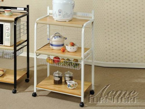 New White Finish Kitchen Cart ACS102112