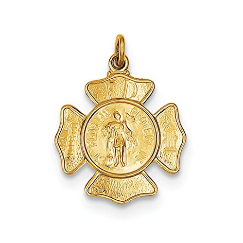 - IceCarats 24k Gold Plated 925 Sterling Silver Saint Florian Firemans Badge Medal Necklace Pendant Charm
