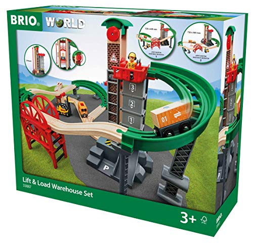- Brio World - 33887 Lift & Load Warehouse Set | 32 Piece Train Toy with Accessories and Wooden Tracks for Kids Ages 3 and Up