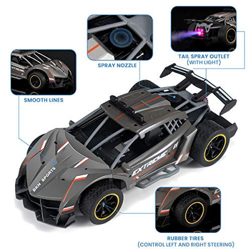 ITISUP Remote Control Car 1/12 Scale RC Car Toys 2.4Ghz Spray Racing Car Toys with Rear Fog Stream LED Light and Sound Electric Hobby Car for Kids Teens Adults with 2 Rechargeable Batteries
