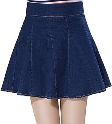 Youhan Women's Summer A-Line Pleated High Waist Solid Denim Skirt