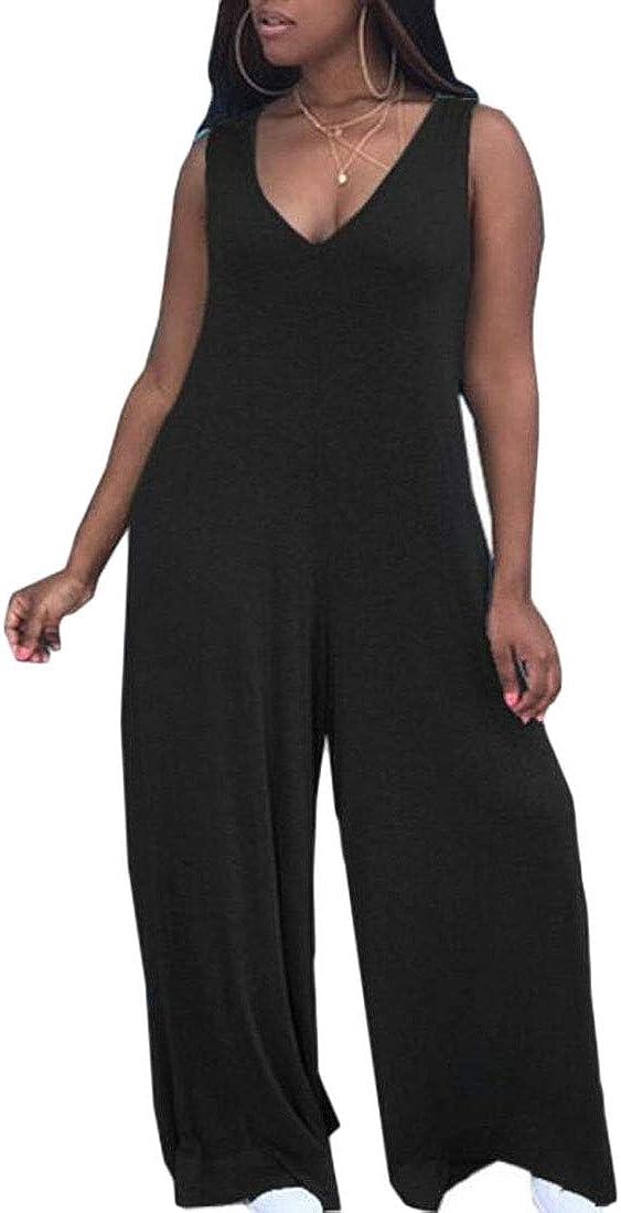 ARTFFEL Womens Fashion Sleeveless Wide Leg Deep V Neck Jumpsuits Romper