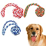Dog Rope Toy with Ball,Lonni 2 Packs Interactive Pet Chew Toys,Dog Knot Tug Balls with Handle for Aggressive Chewers Teeth Cleanning Playing(Medium Large Dogs,Random Color)