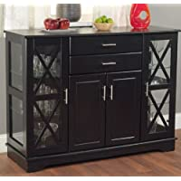 K&A Company Black Wood Buffet Sideboard Buffet Server Dining Room Furniture adjustable with Glass Doors