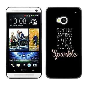 TopCaseStore / la caja del caucho duro de la cubierta de protección de la piel - Dull Sparkle Black Motivational Inspirational - HTC One M7