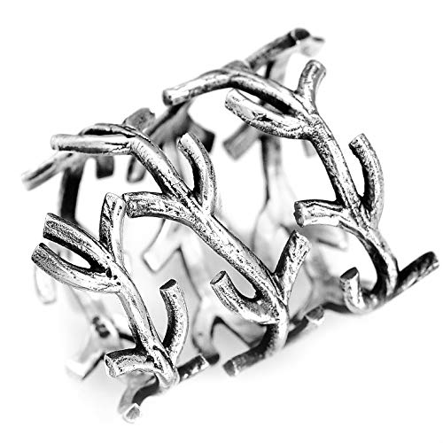 (Boho-Magic 925 Sterling Silver Twig Adjustable Statement Ring for Women   Cool Plain Simple Wrap Branch Ring   Size 6-10   Gift Box Bonus (7))