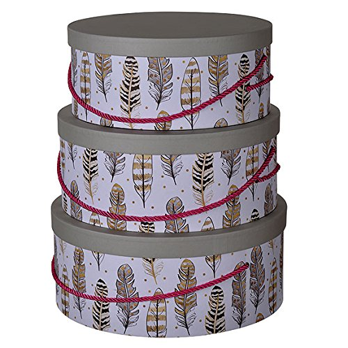 A&B 42075-AB S/3 Albany Round Hatboxes with Feather Motif