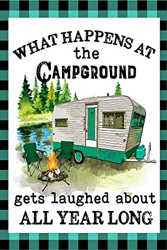 What Happens at The Campground Gets Laughed at All Year Camper Decorative Garden Flag, Double Sided, 12