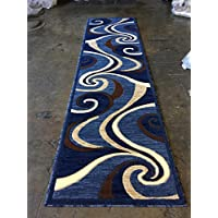 Modern Long Runner Contemporary Rug Blue Brown Beige Abstract Swirl Design 144 ( 32 Inch X 10 Feet )