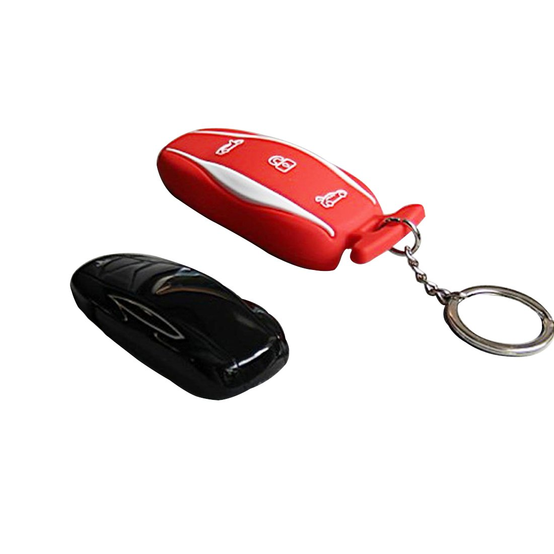 TeslaWorld Red Silicone Rubber Car Keychain Key Fob Case Remote Keyless Entry Holder Model S Red