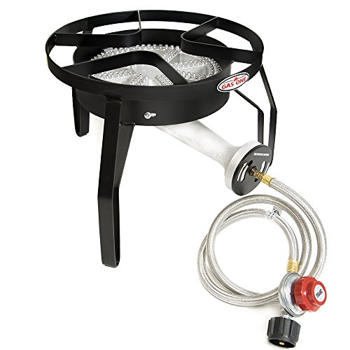 Gas ONE 200,000 BTU Single Burner Outdoor Stove Propane Gas Cooker with Adjustable 0-20PSI CSA Listed Regulator and Hose Perfect for Home Brewing Turkey Fry Outdoor Cooking Maple Syrup Prep ()