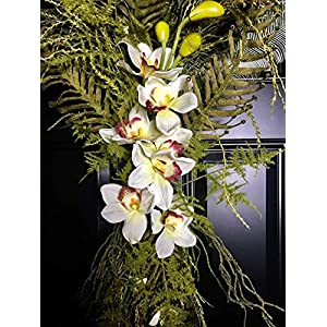 """Extra Large Tropical Orchid & FernTeardrop Swag Wreath for Spring Summer Summertime Mother's Day Front Door Porch Indoor Wall Coastal Beach Home Decor, Handmade, 40"""" L x 24"""" W x 7"""" D 9"""