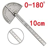 Oldeagle Protractor Ruler, Stainless Steel 180 Degree Angle Woodworking 10cm Measurement Protractor Ruler for Draw Radial Lines, Setting Bevels and Transferring Angles