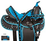 14 15 16 17 18 BLUE CRYSTAL WESTERN PLEASURE SHOW HORSE SADDLE LIGHT WEIGHT CORDURA SYNTHETIC TACK