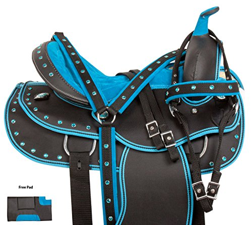 - AceRugs Beautiful Western Pleasure Trail Barrel Racing Show Horse Saddle Free TACK Set PAD Silver Crystals (Dark Blue, 16)