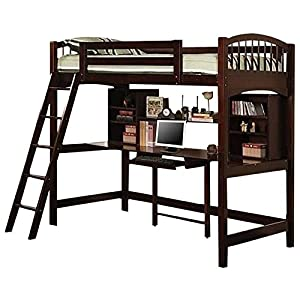 Pemberly Row Twin Loft Bed in Cappuccino