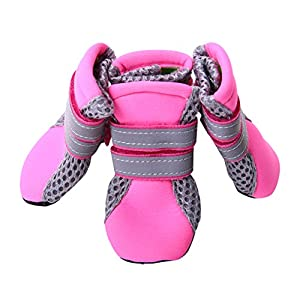 QBLEEV Pet Dog Shoes Mesh Breathable Adjustable Outdoor Summer (XL, PINK)