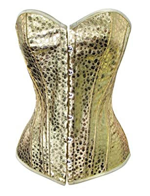 Chicastic Gold & Silver Patent Leather Bustier Corset With Strong Boning