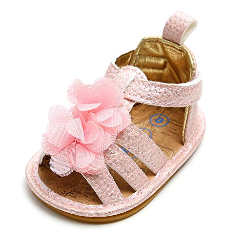 HsdsBebe Baby Girls Flower Dress Sandals Pu Leather White Shoes Rubber Sole Toddler Fisrt Walkers Infant Princess Summer Shoes (6-12 Months, Pink)]()