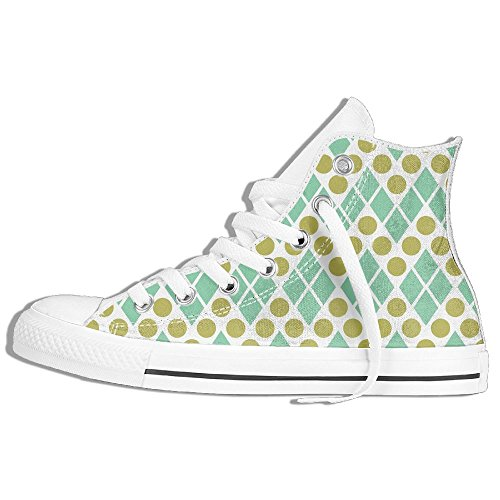 Classiche Sneakers Alte Scarpe Di Tela Puntini Antiscivolo Geometria Casual Da Passeggio Per Uomo Donna Bianco