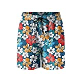 Bright Tropical Flowers Mens Quick Dry Lightweight Beach Shorts with Drawstring