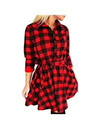 ARINLA Womens Casual Turn-down Collar Plaid Bandage Evening Party Dresses