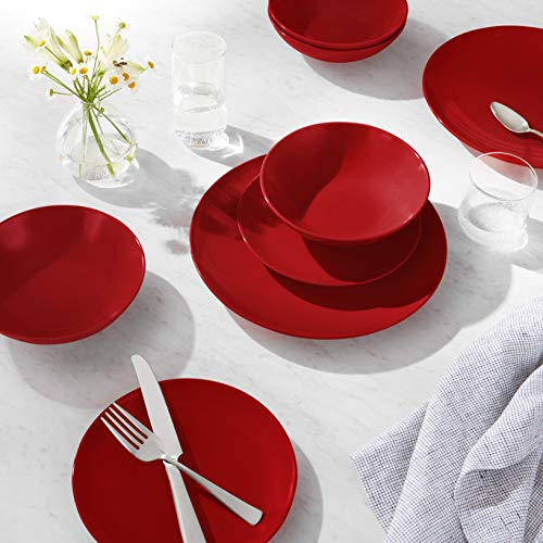 AmazonBasics 18-Piece Stoneware Dinnerware Set - Fire Engine Red, Service for 6
