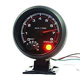 """NCElec Universal 3.75"""" 12V White LED Backlit Tachometer Gauge with Red Shift Light for Auto Gasoline Car, 0-8000 RPM"""