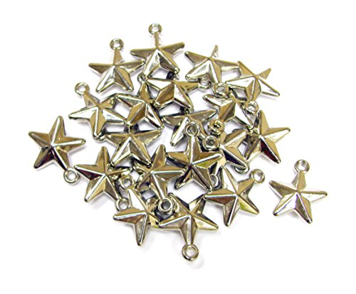 Plastic Charm (Linpeng 090427-13 20 Piece Silver Plated Plastic Star Charms)