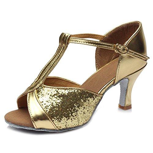 808 nbsp;Bal Chaussures latine Gold danse de des heels YFF heeled femmes Tango 7cm z4xwqzdA