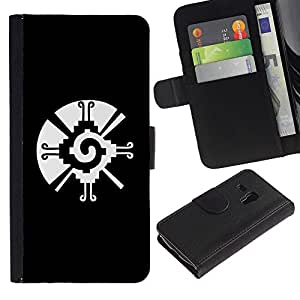 Billetera de Cuero Caso Titular de la tarjeta Carcasa Funda para Samsung Galaxy S3 MINI NOT REGULAR! I8190 I8190N / black white tribal native pattern vortex / STRONG