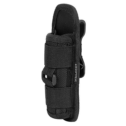 Flashlight Pouch Holster Carry Case Holder with 360 Degrees Rotatable Belt Clip Long Type, Black 70g Case