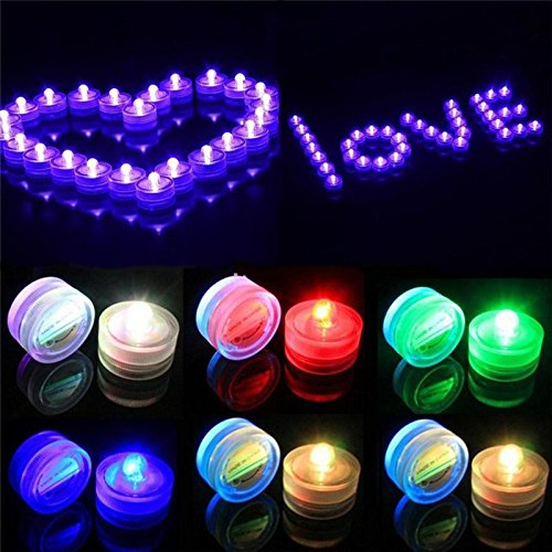 Flameless Led Tea Light Candles, Party Lovers Decoration Submersible Underwater Waterproof LED Tealight Candle - Battery Powered - Multi Color (4 Dozen) ()