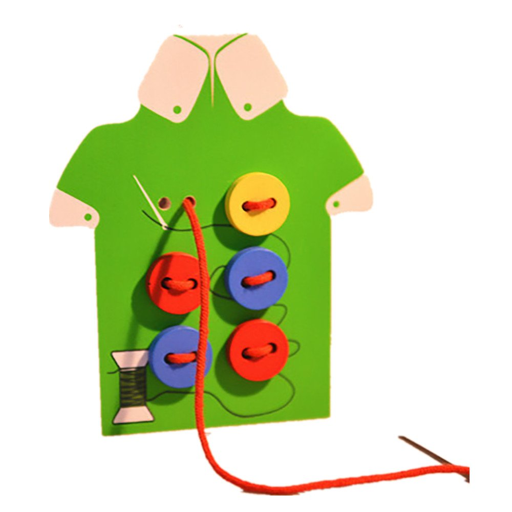 3-D Puzzles, Bestow Children Beads Lacing Board Wooden Toys Toddler Sew On Buttons Education Toy (Green)