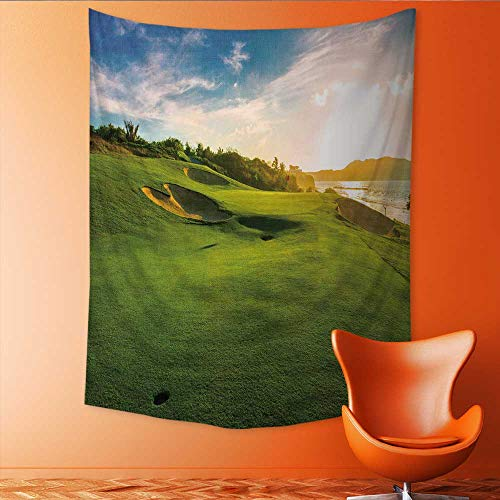 Tapestry Table Cover Bedspread Beach Towel Sand bunkers at The Beautiful Golf Course at The Ocean Side at Sun sunri IME Dorm Decor 70W x 93L INCH -
