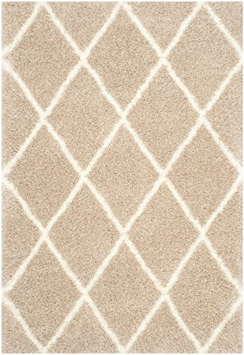 Safavieh Montreal Shag Collection SGM831C Beige and Ivory Area Rug, 5 feet 3 inches by 7 feet 6 inches (5'3
