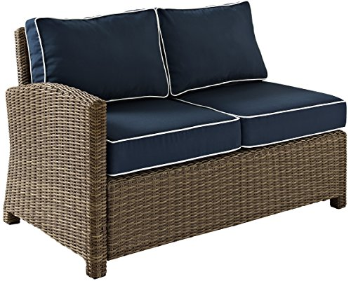 Crosley Furniture Bradenton Outdoor Wicker Sectional Left Corner Loveseat with Cushions - Navy