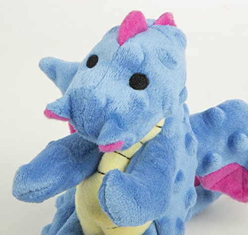 goDog Dragon With Chew Guard Technology Tough Plush Dog Toy, Periwinkle, Small