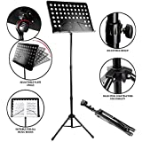 RockJam G905 Height & Angle Adjustable Orchestral Conductor Sheet Stand, Matte Black