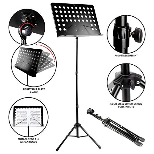 RockJam G905 Height & Angle Adjustable Orchestral Conductor Sheet Stand, Matte Black from RockJam