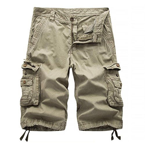 Khaki Long Shorts (Men's Multi-pocket Slim Fit Solid Cargo Shorts Khaki 40)