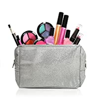 Set de maquillaje lavable para niños con una bolsa de cosméticos con purpurina