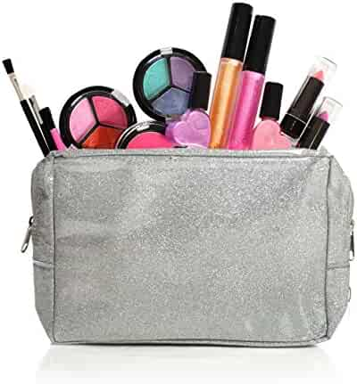 Kids Washable Makeup Set With A Glitter Cosmetic Bag